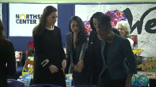 interior shots of catherine duchess of cambridge visiting the northside centre in harlem and sitting down to wrap christmas gifts with chirlane... - executive director stock videos & royalty-free footage