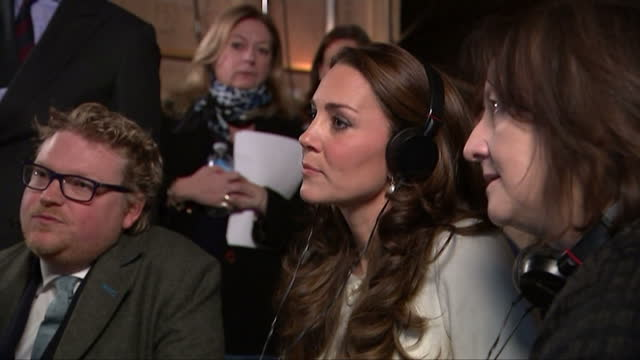 Interior shots of Catherine Duchess of Cambridge watching on a monitor with members of the Downton Abbey production staff as a scene is recorded>> on...