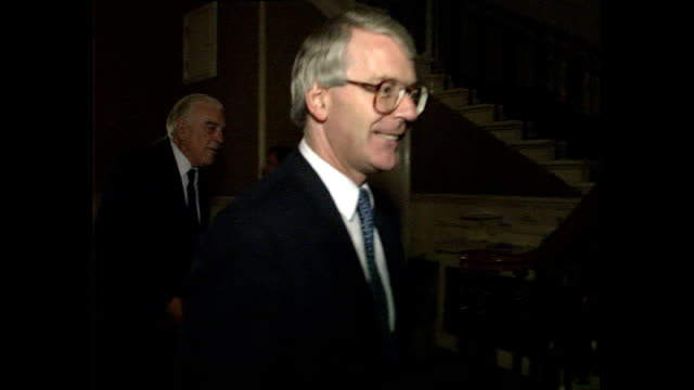 interior shots of chancellor of the exchequer norman lamont mp & wife rosemary lamont and prime minister john major mp & wife norma major arriving at... - prime minister stock videos & royalty-free footage