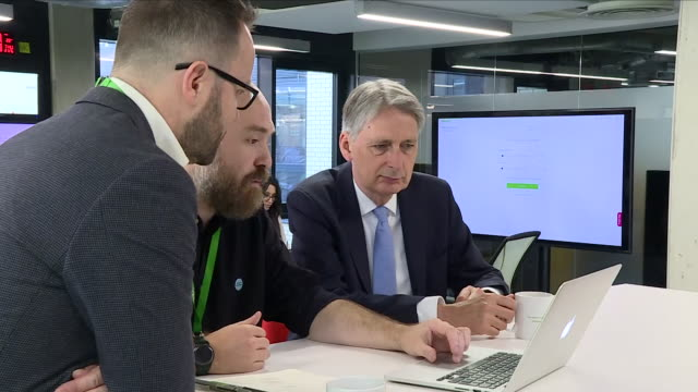 Interior shots of Chancellor Philip Hammond MP meeting the staff and management of Nutmeg a Vauxhallbased Fintech company on 21 June 2018 in London...