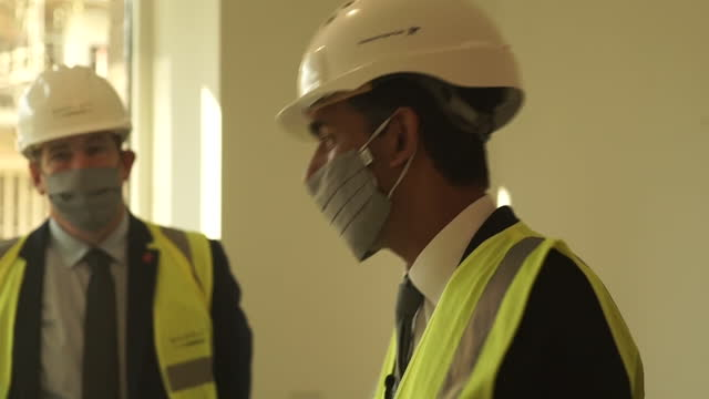 interior shots of chancellor rishi sunak inspecting a building site looking at a new residential flats development on 5 november 2020 in london,... - examining stock videos & royalty-free footage