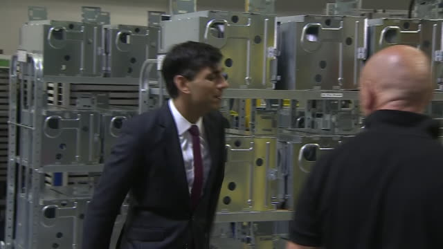 interior shots of chancellor rishi sunak meeting staff on a visit to teh worcester bosch factory on 9 july 2020 in worcester united kingdom - furlough stock videos & royalty-free footage