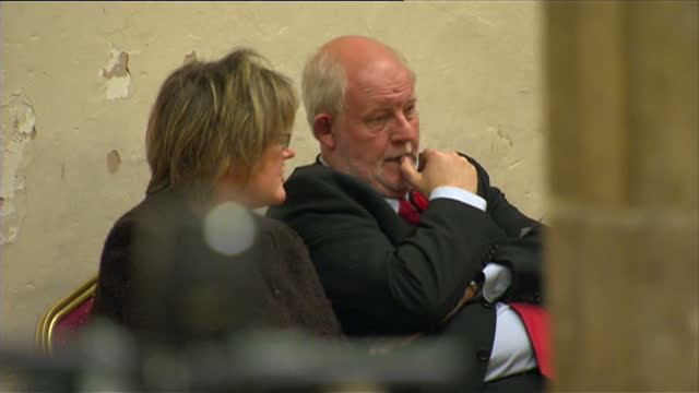 interior shots of charles clarke mp sat with his wife carol pearson awaiting the vote results for norwich south on may 07, 2010 in norwich, england. - charles clarke uk politician stock videos & royalty-free footage