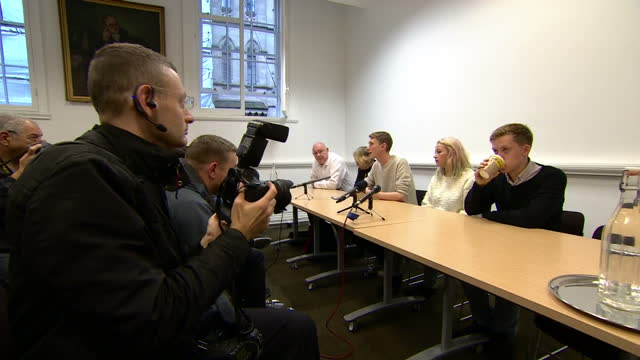 interior shots of charlotte church, owen jones and other activists arriving to give a press conference about their concerns over conservative... - charlotte church stock videos & royalty-free footage