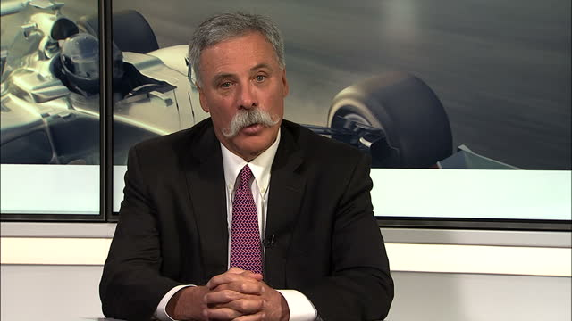 interior shots of chase carey new chief executive of formula 1 sat in a press conference talking about how bernie ecclestone's advice will still be... - bernie ecclestone stock videos & royalty-free footage