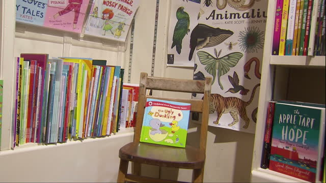 vídeos de stock e filmes b-roll de interior shots of children's books on display in an independent book shop>> on october 08 2015 in chipping norton united kingdom - chipping norton england