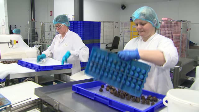 interior shots of chocolate making at the lir chocolates factory including shots of liquid chocolate in a vat and pouring from a nozzle and workers... - chocolate factory stock videos & royalty-free footage