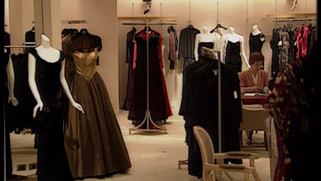 Interior shots of clothes on display in Saks Fifth Avenue from the designers Eavis and Brown on September 10 1998 in New York United States