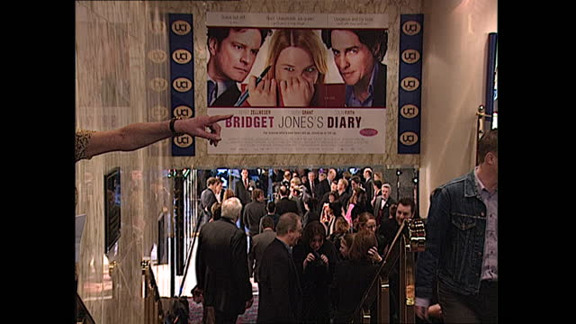 interior shots of colin firth, renee zellweger and hugh grant posing for photos at the premiere of bridget jones's diary on 4 april 2001 in london,... - video stock videos & royalty-free footage