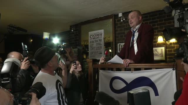 interior shots of comedian al murray launching his election campaign in a pub and being heckled by a man who claims he's making a mockery of thanet... - al murray stock videos & royalty-free footage