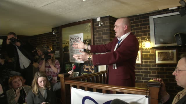 interior shots of comedian al murray speaking at the launch of his political campaign in thanet, answering questions from the press and various... - al murray stock videos & royalty-free footage