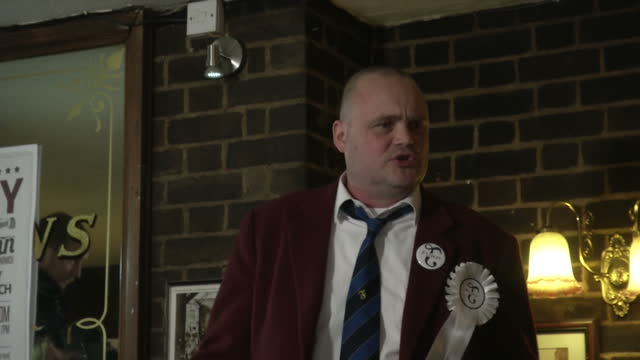 interior shots of comedian al murray speaking from a soapbox in a sandwich pub, taking lively questions from press at the launch of his political... - al murray stock videos & royalty-free footage