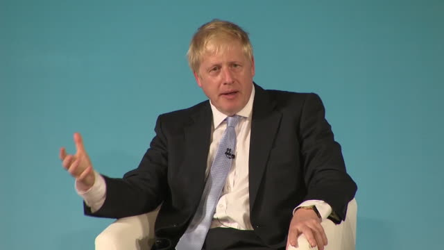 interior shots of conservative leadership candidate boris johnson speaking at a hustings event on 27 june 2019 in bournemouth united kingdom - bournemouth stock-videos und b-roll-filmmaterial