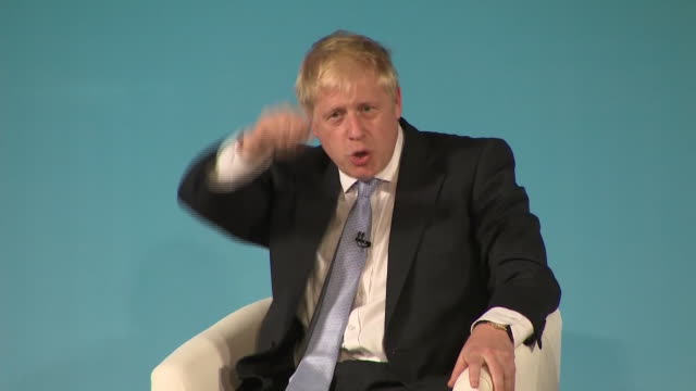 interior shots of conservative leadership candidate boris johnson speaking at a hustings event on 27 june 2019 in bournemouth united kingdom - bournemouth england stock videos & royalty-free footage