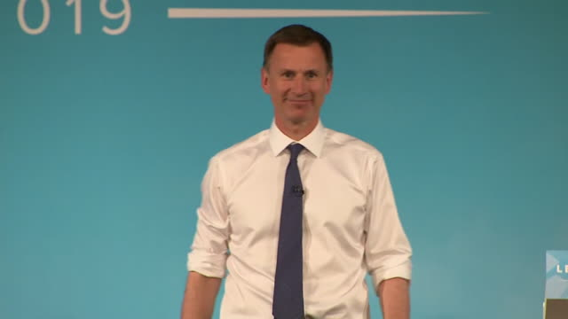 interior shots of conservative leadership candidate jeremy hunt mp speaking at a hustings event on 27 june 2019 in bournemouth united kingdom - bournemouth stock-videos und b-roll-filmmaterial