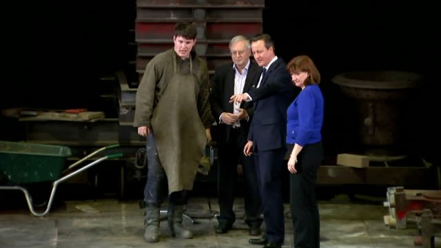interior shots of conservative party leader david cameron and nicky morgan being shown round the john taylor and co bell foundry on april 09 2015 in... - british liberal democratic party stock videos & royalty-free footage