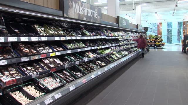 vídeos de stock e filmes b-roll de interior shots of customers browsing the supermarket aisles at sainsbury's on october 11 2016 in london england - sainsburys