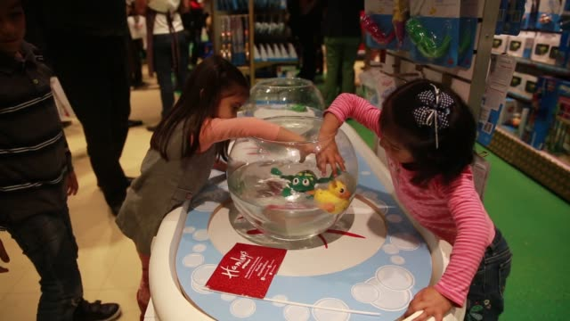 interior shots of customers shopping during the grand opening of a hamleys toy store in mexico city, mexico on november 30th, 2015 photographer:... - waddling stock videos & royalty-free footage