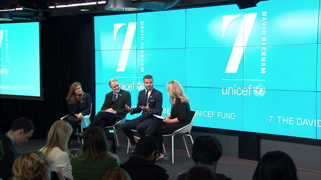 Interior shots of David Beckham sitting on stage at UNICEF press conference with 7 David Beckham UNICEF Fund on screens in background on February 09...