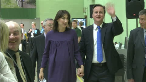 stockvideo's en b-roll-footage met interior shots of david cameron and wife samantha cameron at the witney 2010 vote count chatting to supporters on may 07, 2010 in london, england. - 2010