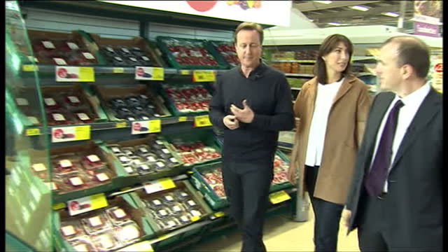 Interior shots of David Cameron and wife Samantha walking on a visit to a Tesco supermarket in the Delyn constituency prior to the 2010 General...