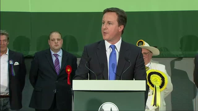 Interior shots of David Cameron making acceptance speech after winning his constituency seat of Witney in the 2010 General Election on May 07 2010 in...