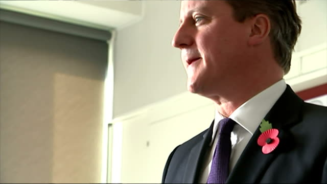 Interior shots of David Cameron talking to pupils in Strood Academy school about the merits of voting on November 11 2014 in Strood England