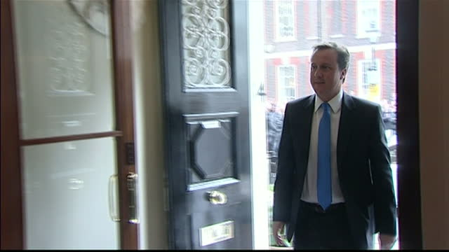 Interior shots of David Cameron walking into St Stephen's Club in Westminster and walking to a podium to make an address to the Liberal Democrats...