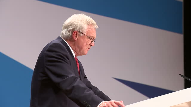 interior shots of david davis mp making a speech at the tory party conference, cutaways on october 02, 2016 in birmingham, england. - david m. davis politician stock videos & royalty-free footage