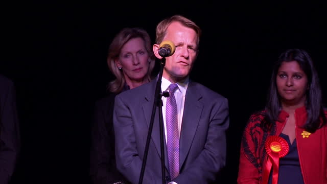 stockvideo's en b-roll-footage met interior shots of david laws making a speech on stage after losing his seat in yeovil on may 08 2015 in yeovil england - yeovil