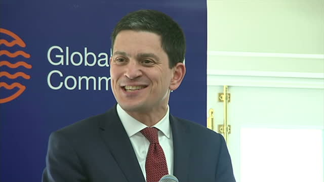 interior shots of david miliband walking to podium and speaking at a global ocean commission lecture on the marine environment on march 18 2015 in... - david miliband stock videos & royalty-free footage