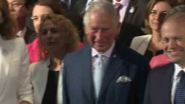 Interior shots of delegates including Prince Charles of Wales posing for a family photo at the Our Oceans conference on 5th October 2017 at St...