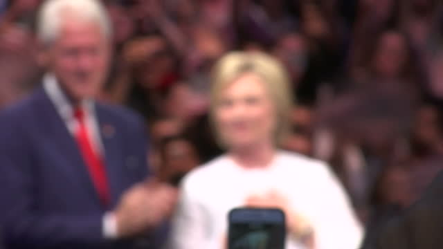 interior shots of democratic presidential candidate hillary clinton and former us president bill clinton on the stage together campaigning on july 5... - us republican party 2016 presidential candidate stock videos & royalty-free footage