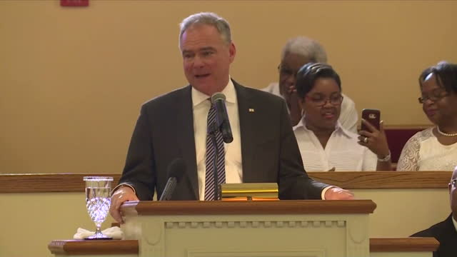 interior shots of democratic vicepresidential candidate tim kaine being introduced and speaking to the congregation at lamb of god missionary baptist... - congregation stock videos and b-roll footage
