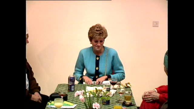 interior shots of diana, princess of wales talking to people at a party at st matthew's community centre and check one man's can of beer on december... - beer alcohol stock videos & royalty-free footage