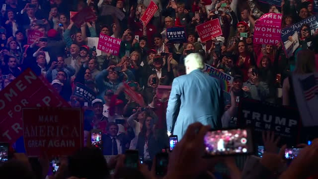 interior shots of donald trump arriving onto the stage with his family to a cheering crowd on november 8, 2016 in new hampshire, united states. - political rally stock videos & royalty-free footage