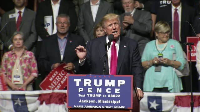 interior shots of donald trump speaking at a rally in jackson mississippi before introducing ukip leader nigel farage onto the stage on december 13... - jackson stock videos & royalty-free footage