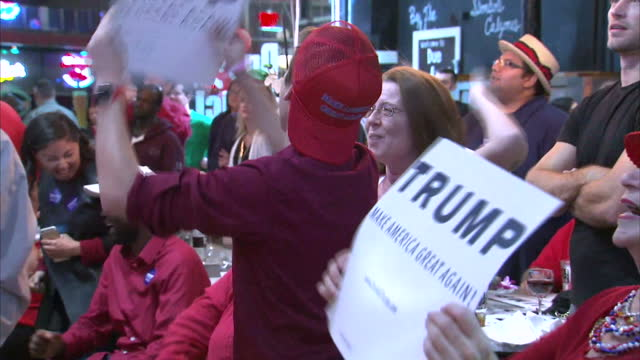 Interior shots of Donald Trump supporters wildly cheering and waving 'Trump' banners in Wisconsin on November 09 2016 in Madison WI
