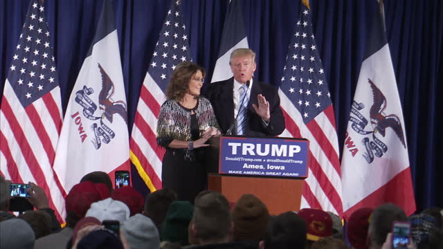 interior shots of donald trump thanking sarah palin for her support palin walking off stage on january 19 2016 in ames iowa - us republican party 2016 presidential candidate stock videos & royalty-free footage