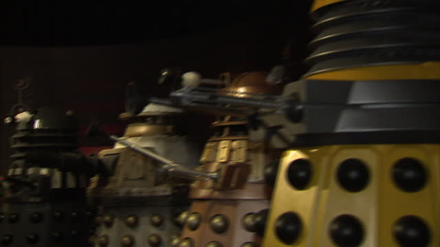 stockvideo's en b-roll-footage met interior shots of dr who monsters creatures and figures from the show on display including darleks dr who exhibition opens on february 20 2011 in... - doctor who