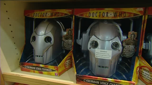 interior shots of dr who toys on the shelves of a toy shop around christmas 2007, as retro toys make a comeback on october 31, 2007 in london,... - doctor who stock videos & royalty-free footage