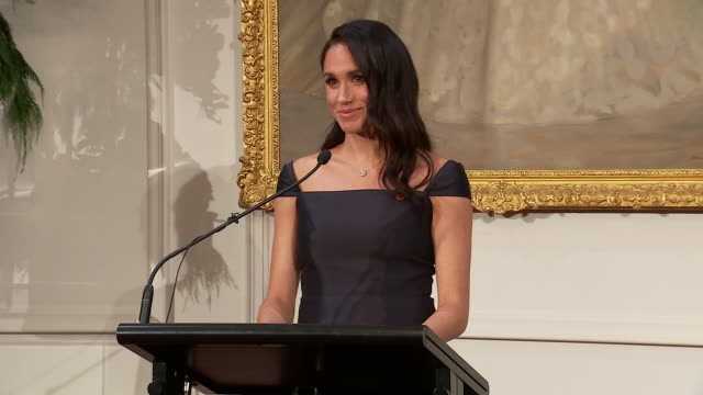 interior shots of duchess of sussex's speech at event marking 125 years of women's suffrage on 28 october 2018 in wellington, new zealand. - speech stock videos & royalty-free footage