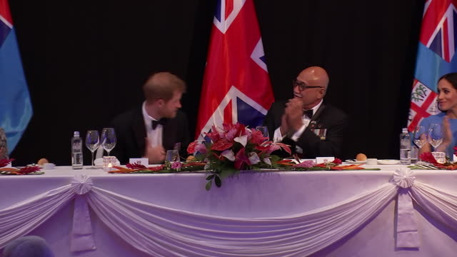 interior shots of duke and duchess of sussex, meghan and harry at the state banquet dinner and prince harry's doing a speech talking about their warm... - state dinner stock videos & royalty-free footage
