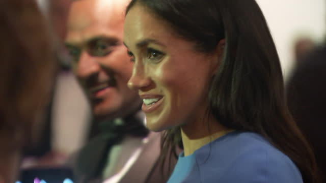 interior shots of duke and duchess of sussex, meghan and harry greeting people at the state banquet dinner at the grand pacific hotel and first... - state dinner stock videos & royalty-free footage