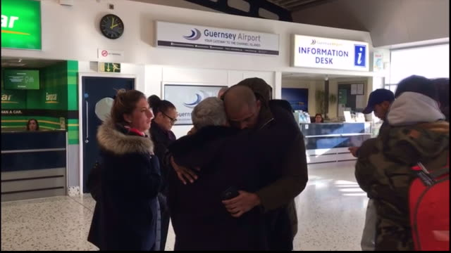 interior shots of emiliano sala's friends and family including sister romina sala & mother mercedes sala arriving at guernsey airport. - guernsey stock videos & royalty-free footage
