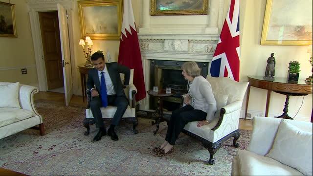 Interior shots of Emir of Qatar Tamim bin Hamad Al Thani meeting UK Prime Minister Theresa May at 10 Downing Street on September 15 2016 in London...