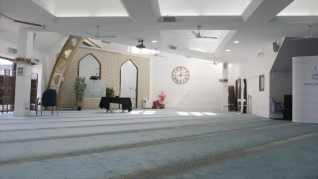 interior shots of empty mosque during coronavirus lockdown, green lane masjid & community centre, on 23 april 2020 in birmingham, united kingdom - mosque stock videos & royalty-free footage