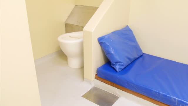 interior shots of empty police station cell on march 04 2015 in london england - prisoner rehabilitation stock videos & royalty-free footage