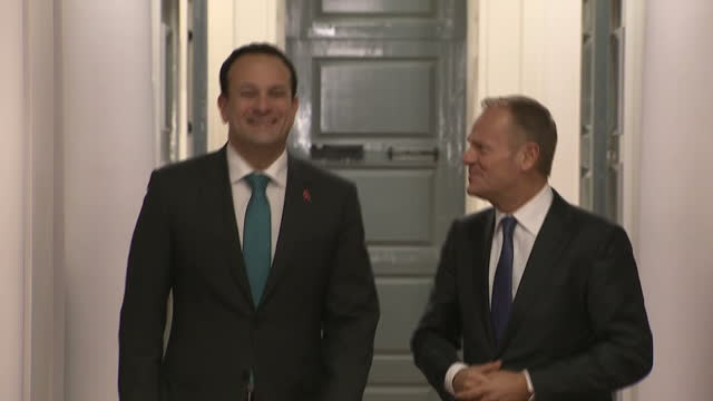 Interior shots of European Council President Donald Tusk at the Government Buildings in Dublin with Irish Prime Minister Leo Varadkar walking along...