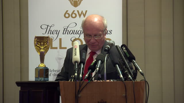 interior shots of fa chairman greg dyke speaking at a press conference commemorating the 50th anniversary of the 1966 england world cup draw talking... - greg dyke stock videos and b-roll footage